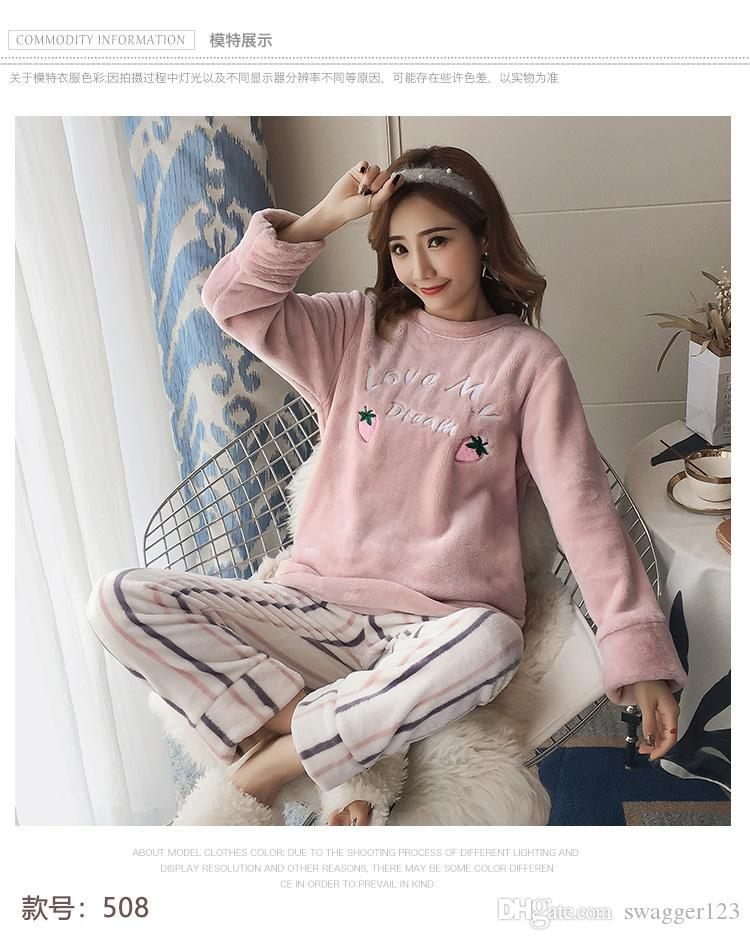 f45cb9d38a7 Strawberry Pajamas Women s Winter Coral Fleece Sweet Cute Set Flannel  Korean Thicken Warm Spring and Autumn Home Service