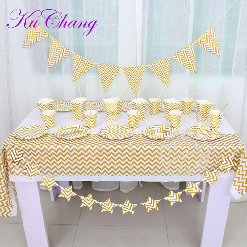 2018 High End Disposable Tableware Gold And Silver Striped Paper ...