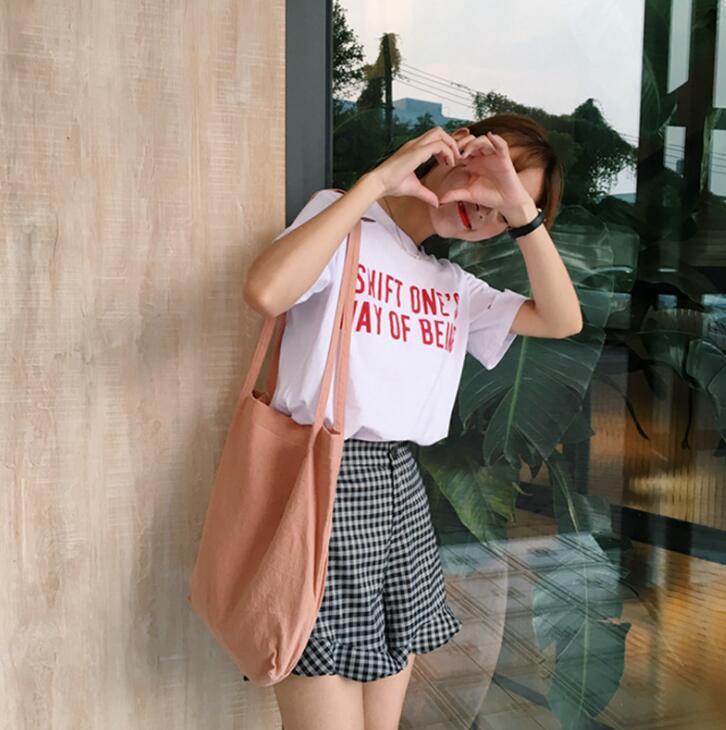 Cute Girl blank Canvas Tote Women Casual Handbag for Teenager Girl Beach Bag Female Large Capacity Daily Shopping Bag for women
