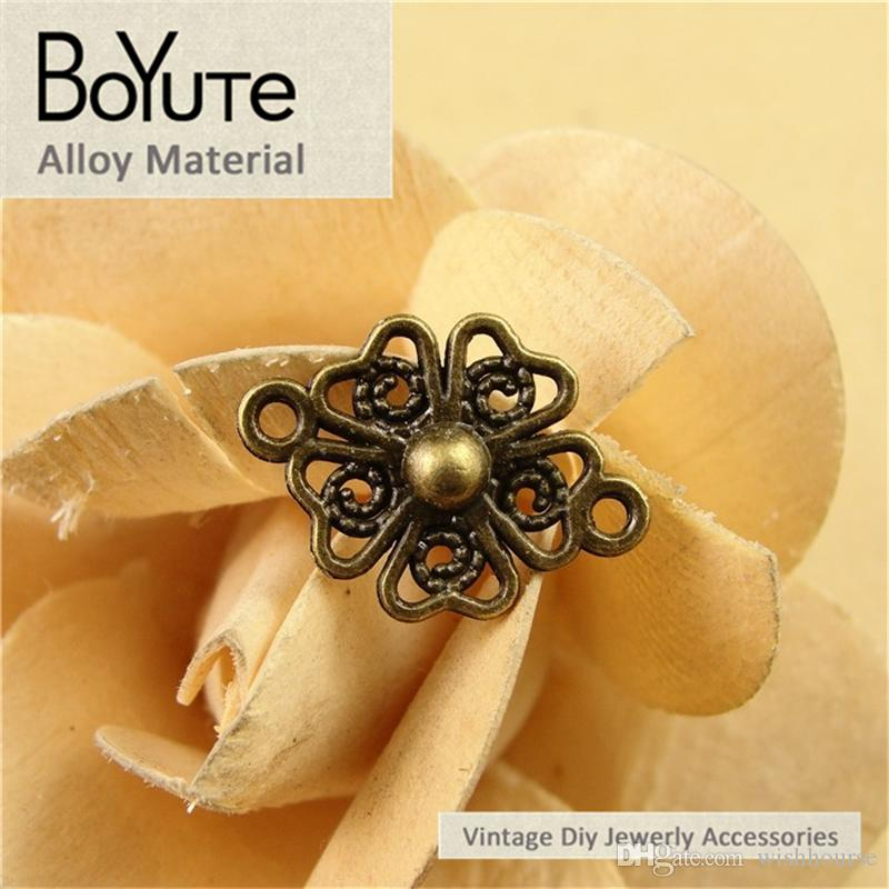 BoYuTe  21*16MM Antique Bronze Silver Plated Zinc Alloy Diy Hand Made Connectors Charms for Jewelry Findings Components