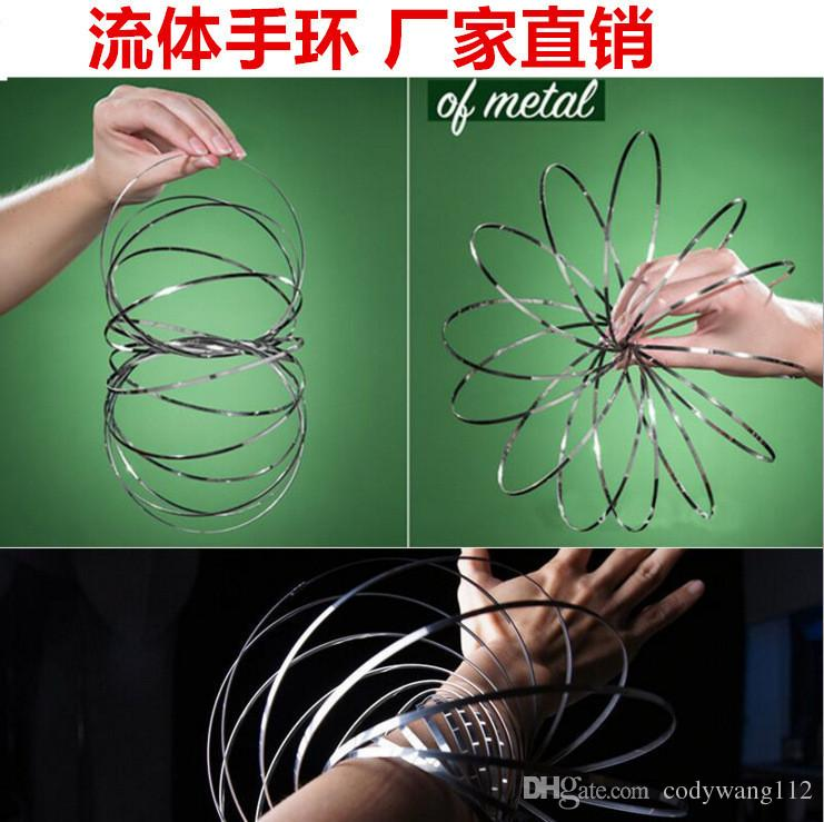 Wholesale Xmax gifts metal Flow magic rings Toy Holographic by While Moving Creates a Ring Flow Rainbow Toys Flow rings