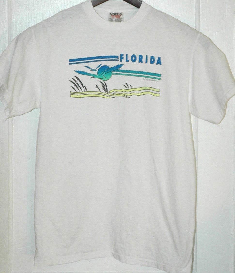 Vtg Florida T Shirt Rare Graphic Tee Retro Tourist Beach Summer Sun