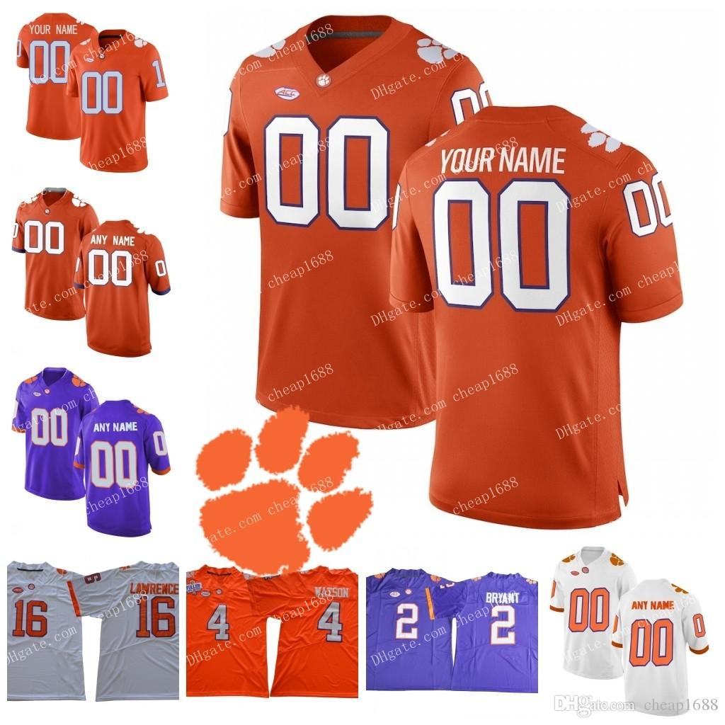 Custom Clemson Tigers College Football #2 Bryant 4 Watson 13 Renfrow 16 Lawrence men women youth Any Name Number 2018 New Game Jersey