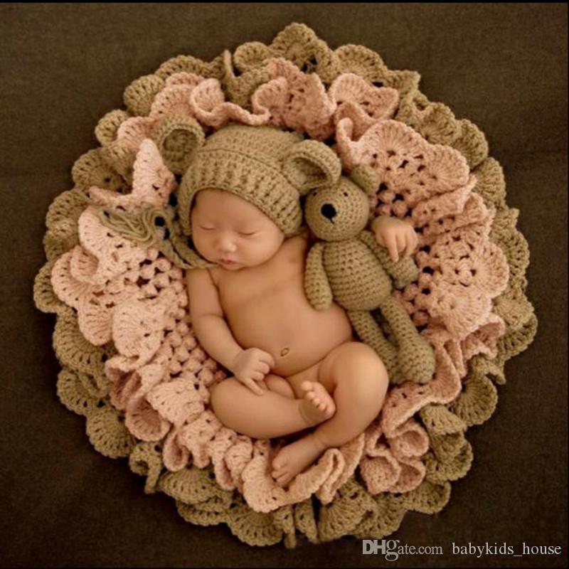 Großhandel Baby Fotografie Decke Häkeln Decke Hut Bär Puppen