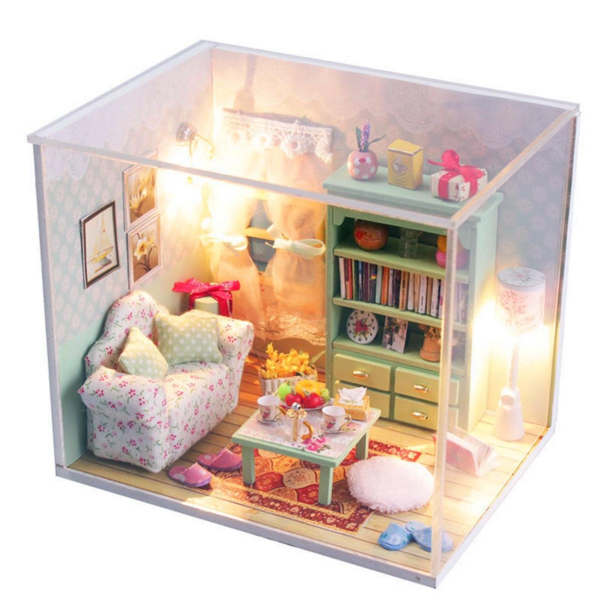 inexpensive dollhouse furniture. Hoomeda Diy Mini Dream House Wood Dollhouse Miniature With Led+Furniture+Cover Room Kits Chirdmas Gift For Kids Furniture Toddlers Inexpensive L