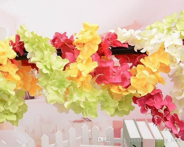 Fiore di seta Glicine Fiore di vite Rattan circa 34 cm di lunghezza Artificiale Hydangea Fiore di seta Vite decorazioni di nozze Wisteria HW012