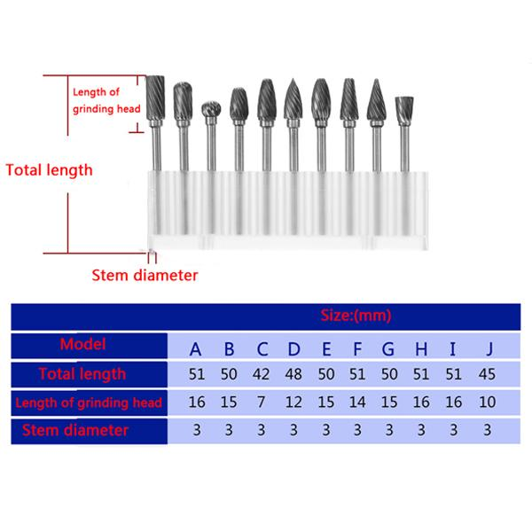 3mm Shank Tungsten Steel Carbide Burr Set Single Line 6mm Head Rotary Drill Bit