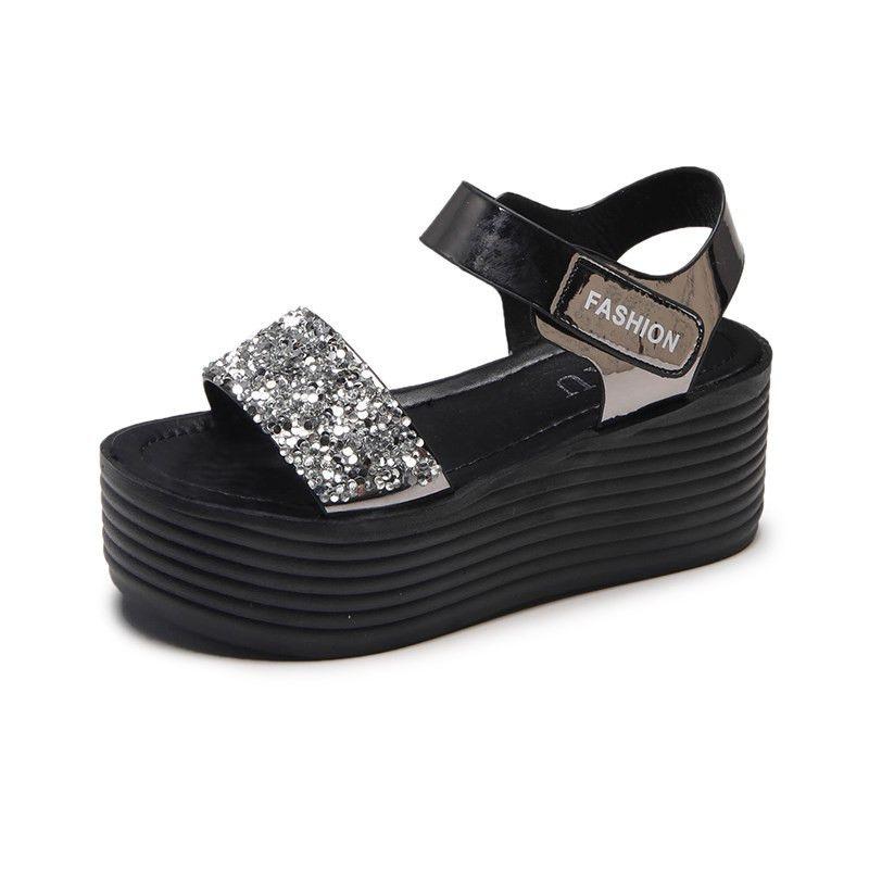 0f257ca81ab3 Gladiator Sandals Women 2018 Summer Fashion Women Sandals Heels Wedges  Platform Peep Toe Flat Ladies Sandals Thick Soled Students Sanalias Shoes  Uk Flat ...