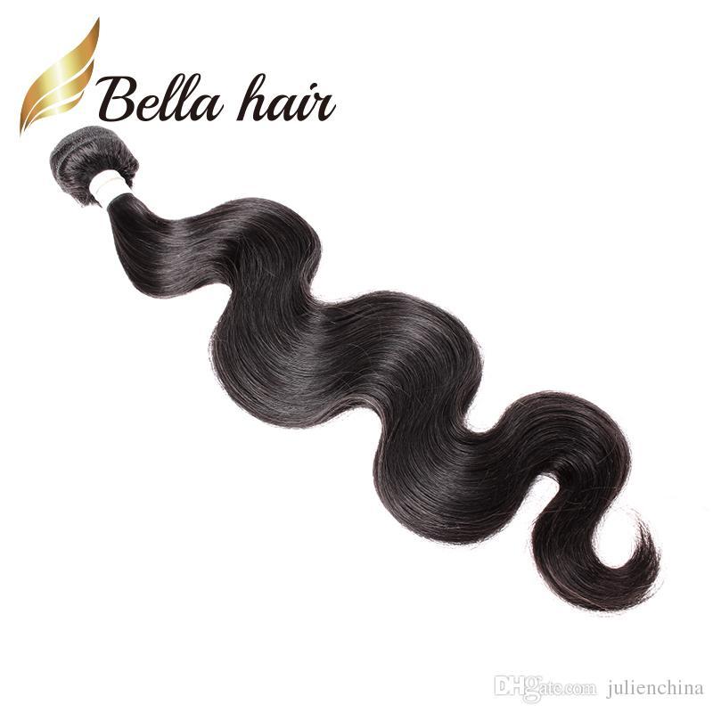 Bella Hair® 9a 10 ~ 24in brasilianska jungfruliga hårväftförlängningar kroppsvåg Vågig naturlig svart färg 3st / ulienchina