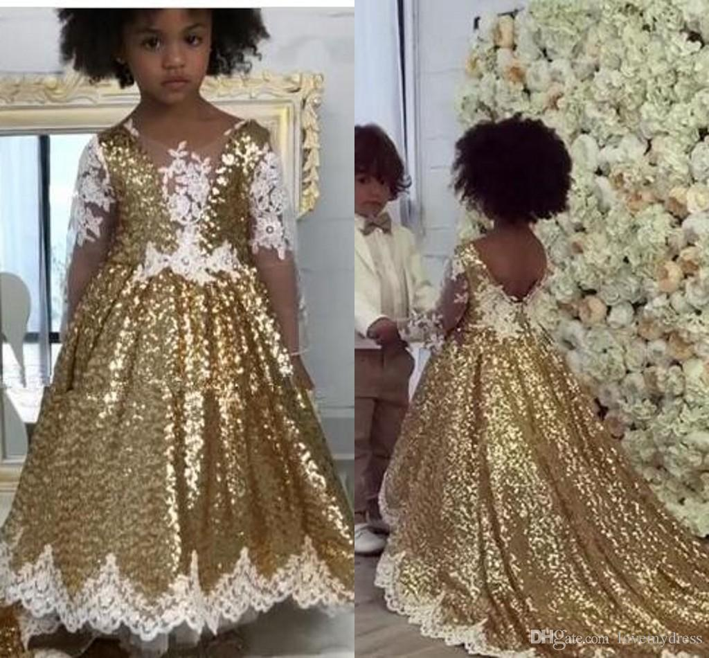 94e3f24518 White Lace Gold Sequined Flower Girl Dresses For Wedding With Long Sleeve V  Neck V Backless Girls Pageant Dress Special Occasion Dress
