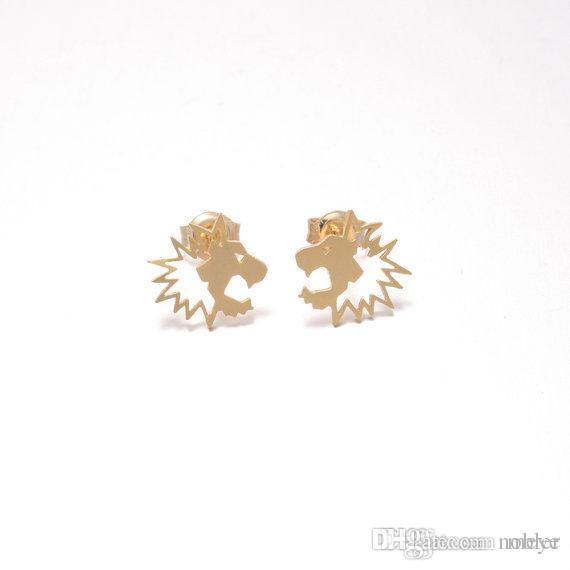 Novelties Boucle D'Oreille Stud Earrings Fresh Lovely Simple Pull Lion Head Animal Ear Female Jewelry Accessories jl-214