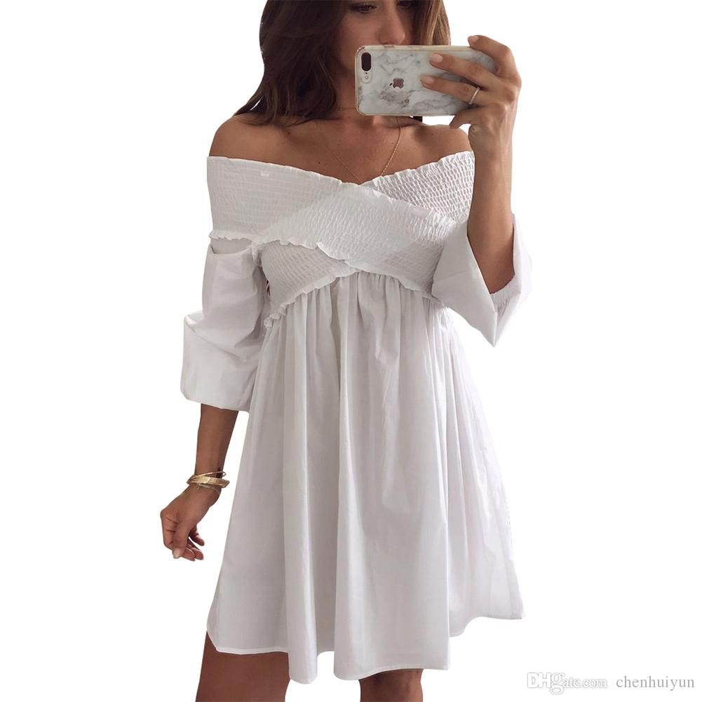 b83a0ea20f8 Stylish White Crossed Smocking Off Shoulder Mini Dress Mini Dress Wholesale  Dress Party Dress Online with  22.52 Piece on Chenhuiyun s Store