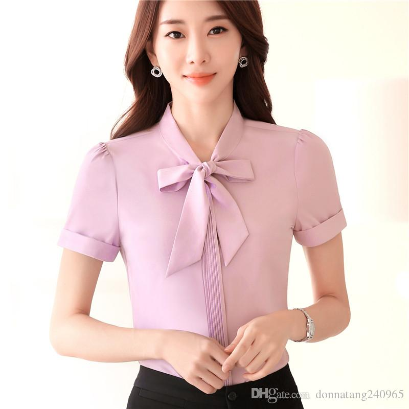 75ebb73dc972 2019 2018 Work Wear Women Shirt Bow Tie Neck Chiffon Blusas Femininas Tops  Elegant Ladies Formal Office Blouse S 4XL From Donnatang240965, $9.32 |  DHgate.