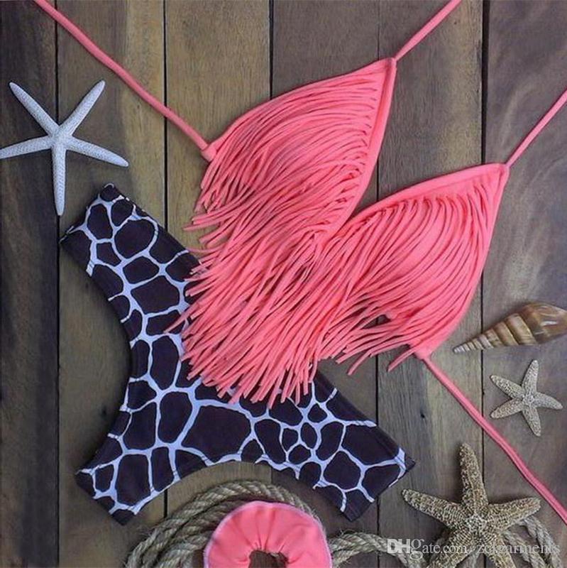 شرابة الصدرية امرأة ليوبارد مثير بيكيني مجموعة ضمادة المايوه رفع الرياضة الوردي الأعلى ملابس زائد حجم بحر