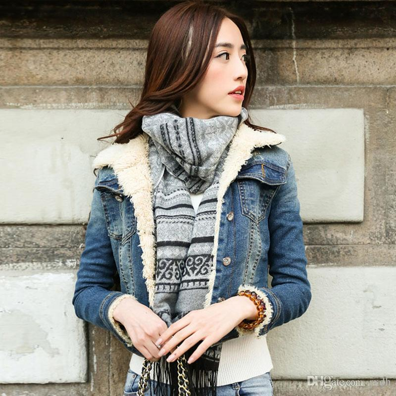 71a31ef1ee 2018 Autumn Winter Vintage Denim Jackets For Women Long Sleeve Sender Faux  Fur Liner Outwear Warm Jean Coats Juniors Girl Outfits Clothe Corduroy  Jacket ...