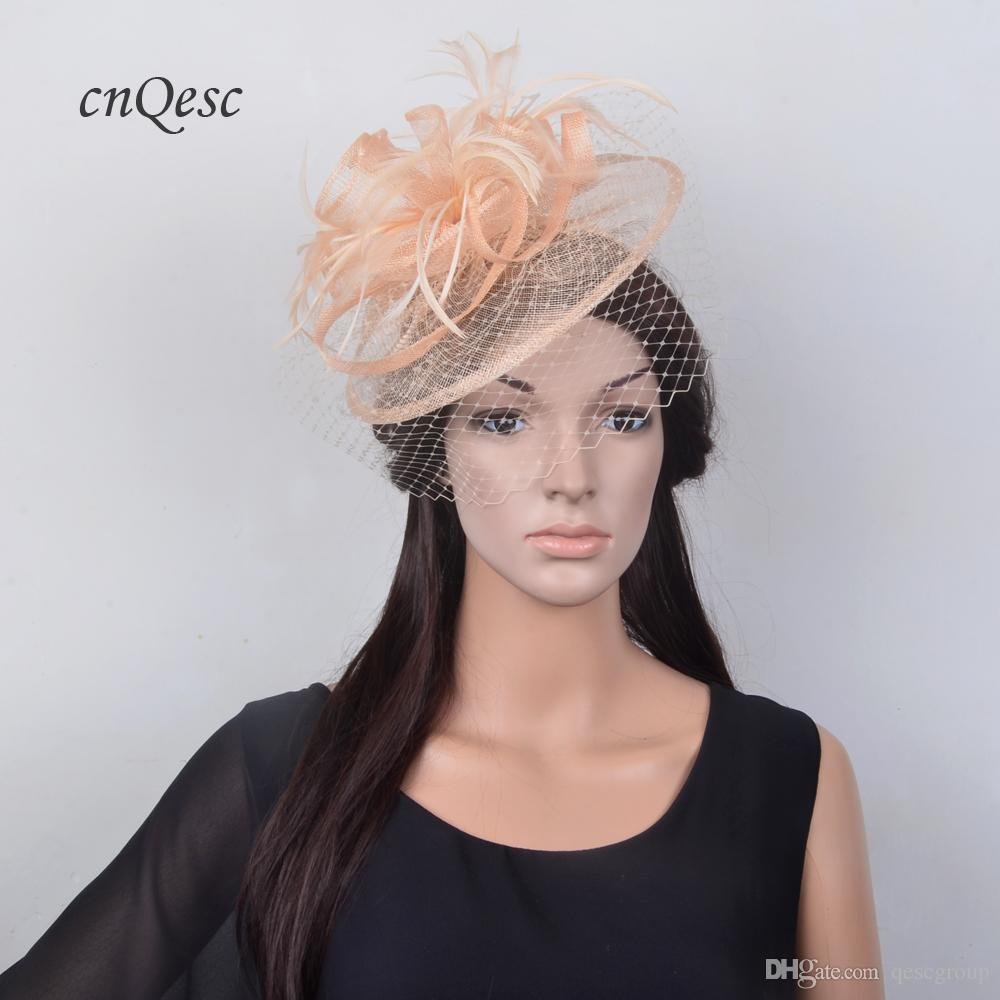 New Colour Nude Pink Peach Feather Fascinator Veil Hat Sinamay Wedding Hat  For Races 02442cc8dd5