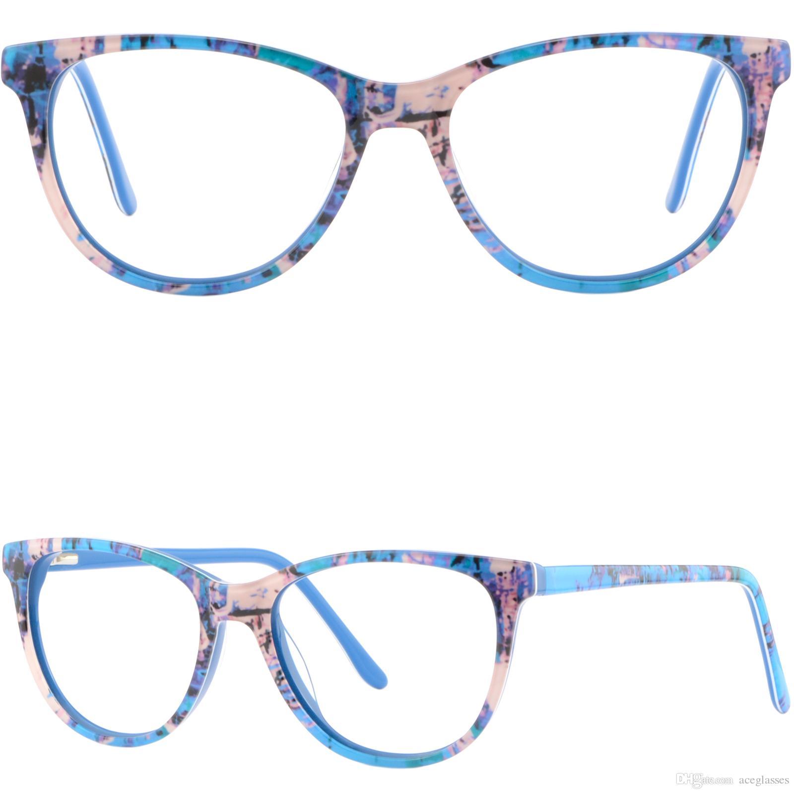 473a8136bb1 Womens Mens Acetate Frames Spring Hinges Prescription Glasses RX Eyeglasses  Blue Glasses Frame Online with  28.69 Piece on Aceglasses s Store