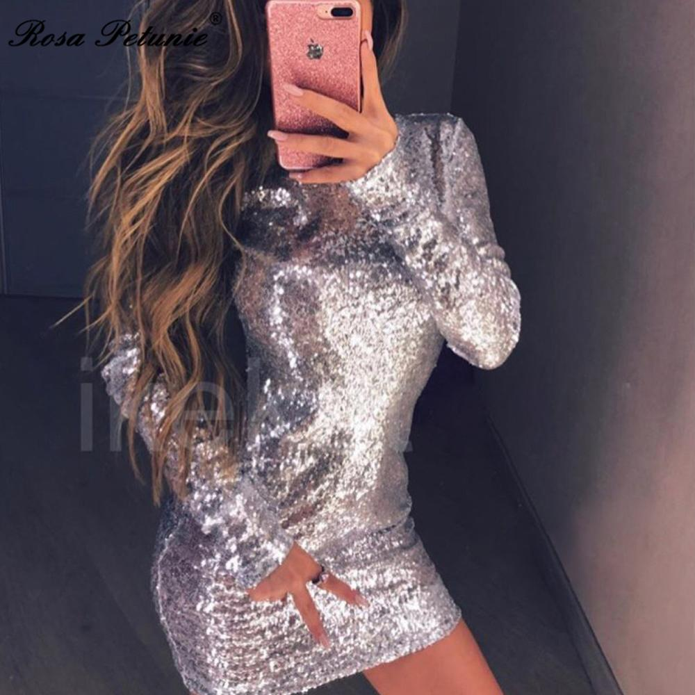 afa331f95848 2019 2017 Dress Women Winter Christmas Party Dresses Long Sleeve Dress  Fashion Sexy Gray Gold Bodycon Vestidos From Watchlove, $27.32 | DHgate.Com