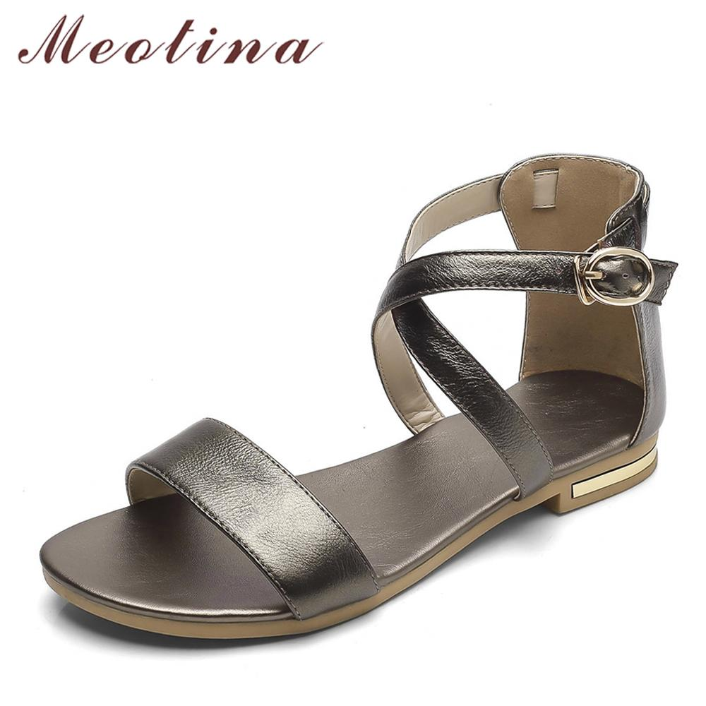 ffe488d700e8c8 Meotina Genuine Leather Women Sandals Block Heel Summer Shoes Open Toe  Ladies Flat Shoes Buckle 2018 Female Footwear Size 33 46 Pink Shoes Salt  Water ...