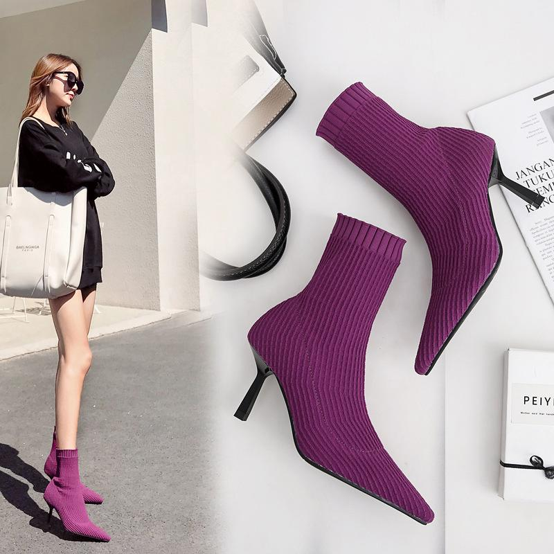 83229afef058 Mid Calf Boots Woman Thin High Heels Stretch Booties Pointed Toe Winter  Botas Knitted Wool Sock Botines Shoes 2018 Brand Botties Office Shoes High  Heels ...