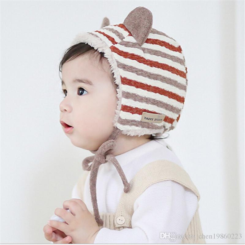 ee083e05a15 Autumn And Winter Children S Cat Ears Hat Baby Elf Hat Kids Striped Head Cap  Plus Velvet Warm Knit Hat Beanies For Men Trucker Caps From Chen19860223