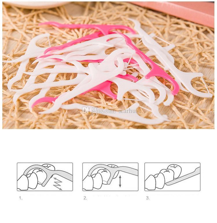 25 pz / borsa di plastica stuzzicadenti filo di cotone stuzzicadenti Bastone la salute orale Accessori Da Tavolo Strumento Sacchetto DEL Opp Pacchetto WX9-525