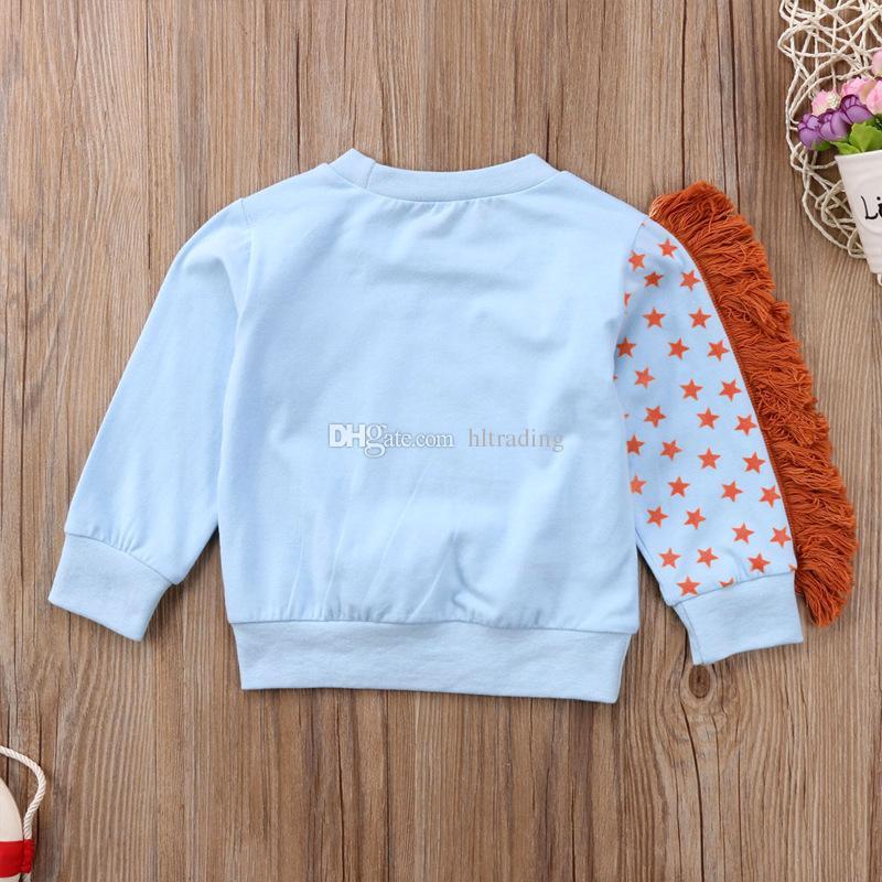 Bambini unicorno Stampa Felpa cartoon Cotone Ragazzi Ragazze Top manica lunga t-shirt 2018 Primavera Autunno Tees Abbigliamento bambini i C4310-1