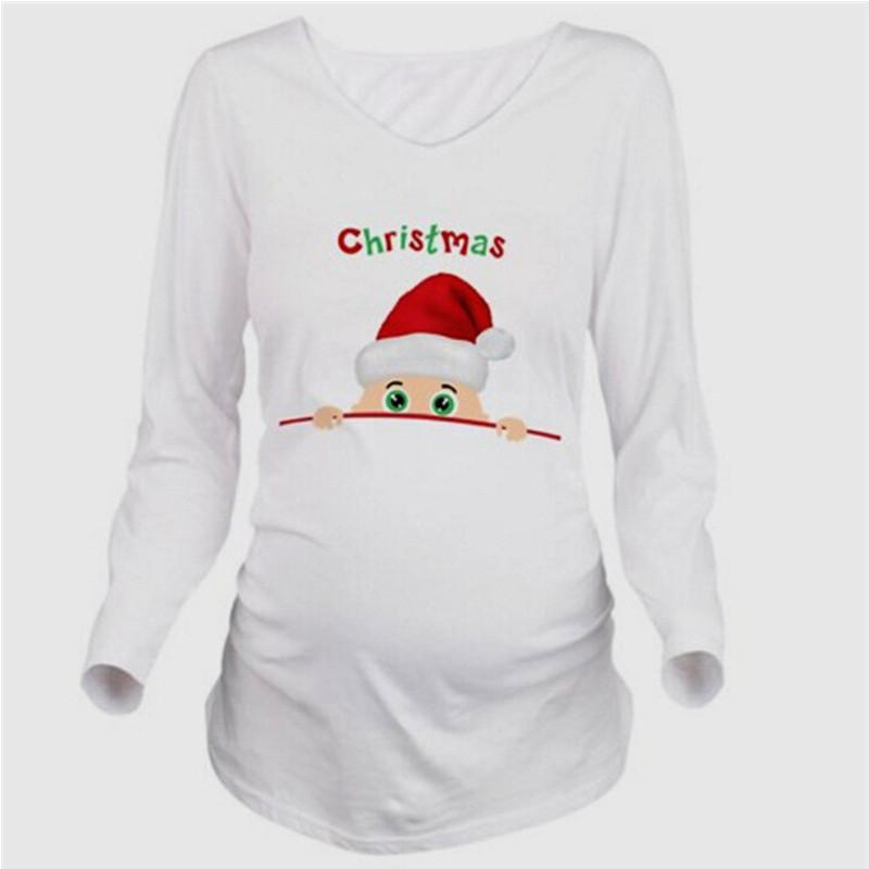 ca3700da3c51f 2019 Maternity Pregnancy Clothes Christmas Tees Funny Maternity Pregnant  Tops Long Sleeves T Shirt European Pregnancy Shirt Clothes From Askkit, ...
