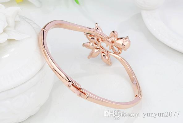 Valentine's Day Refinement Austrian Crystal Water Drop Peacock Statement Chains Bracelets Bangles Fashion Fine Jewelry Accessories For Women