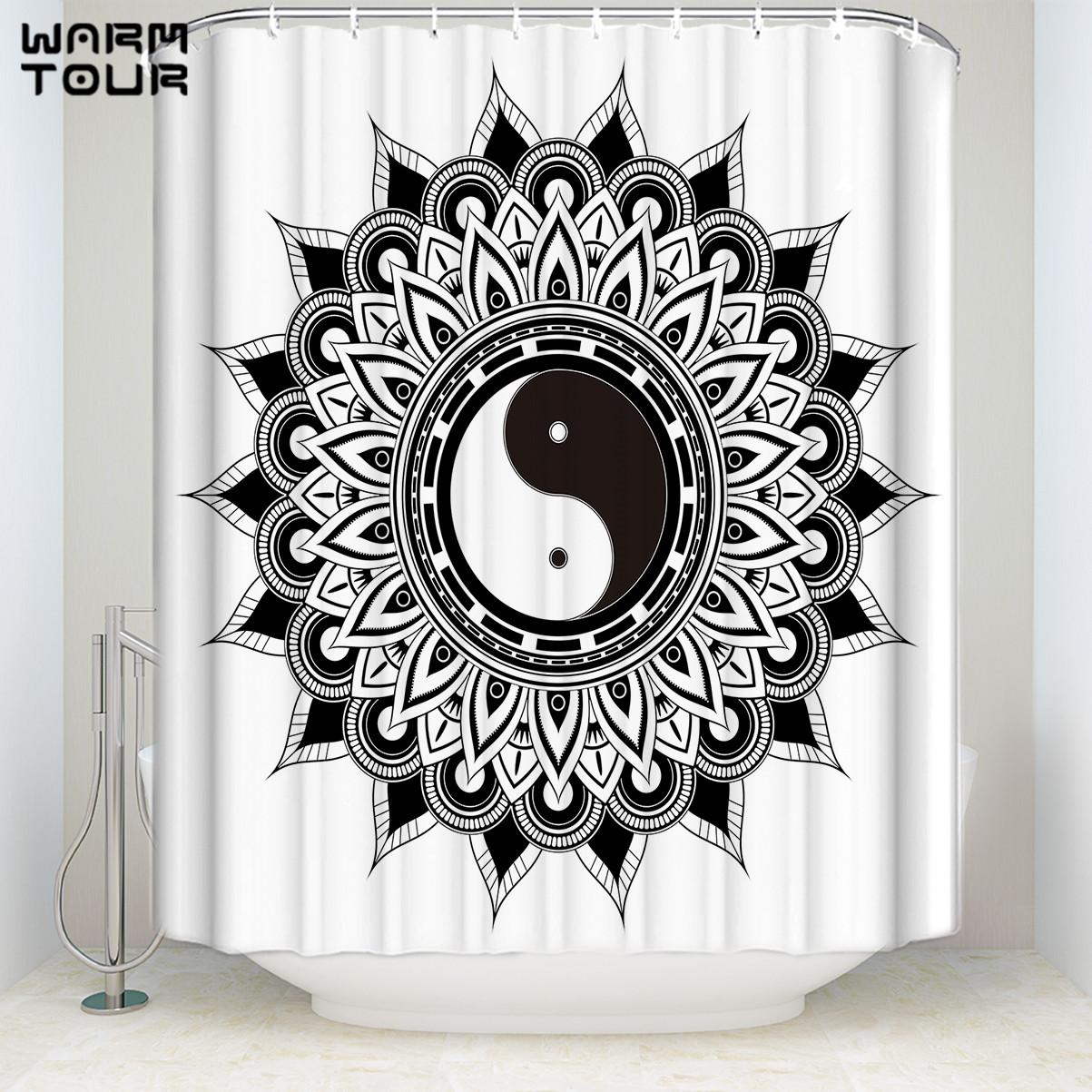 2019 Mandala Bohemian Feather Waterproof Shower Curtain Hippie Boho Decorations Geometric Decor Polyester Bathroom Set 71x71 From Caley 3345