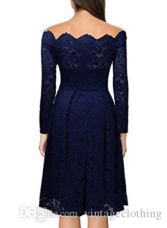 Printemps Dress Lady Dentelle Femmes Dress Sexy Col Slash Manches Longues A-Line Longueur Au Genou Flora Design Robe Élégante