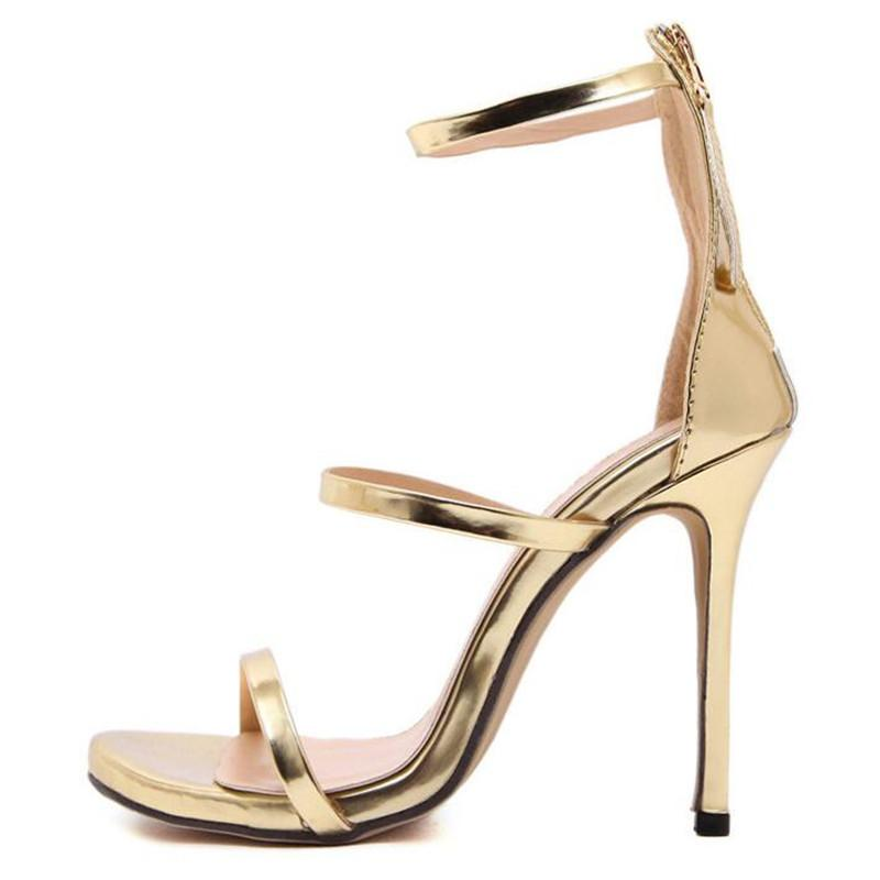 7f15277294d54 2018 Summer Women Gladiator Sandals 11CM High Heels Gold Sandals Patent  Leather Party Sandales Silver Black Nude Ladies Shoes Loafers For Men From  ...