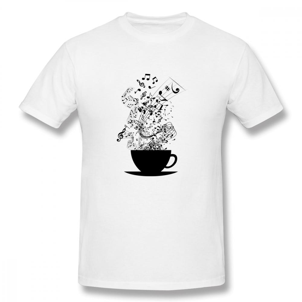 Men Graphic Print Cup Of Music T Shirt Man Round Neck Summer For