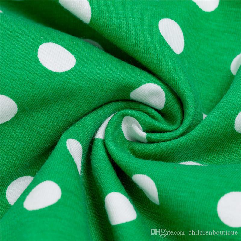 2019 St Patrick'S Day Clothes Sets Ragazze Fashion Cotton Dress Pagliaccetto Ruffle Trifoglio Stampa Tuta + Scarpe verdi + Bowknot Fascia 3 Pz Set