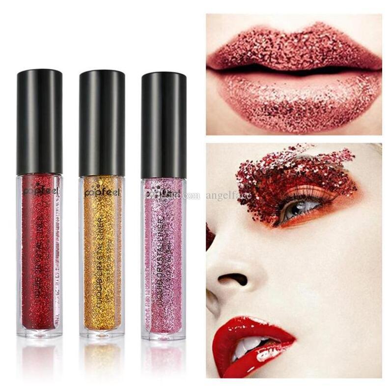 Glitter Eyes Make Up Liner para mujeres Fácil de usar Impermeable Pigmentado Rojo Blanco Oro Líquido Eyeliner Glitter Maquillaje es