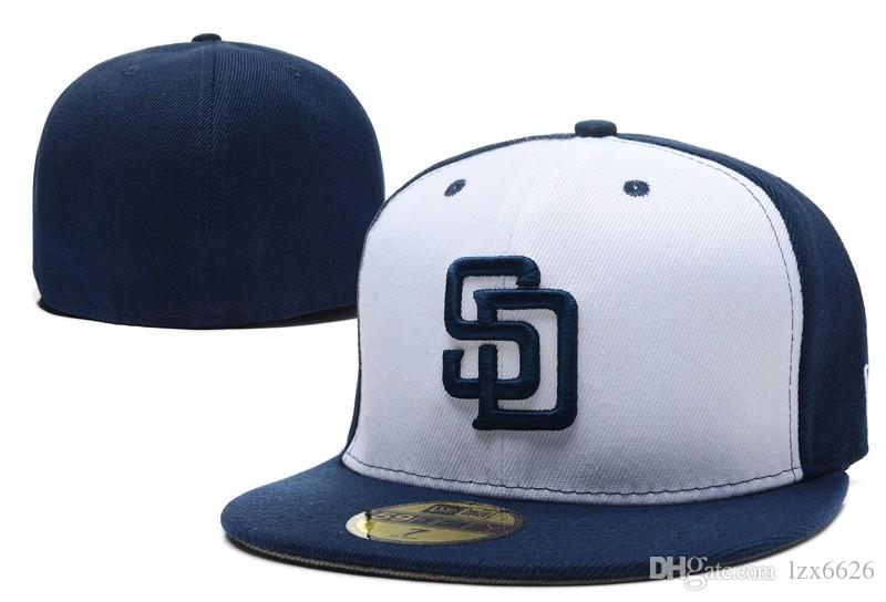 29c26a245be 2018 Cheap Padres Fitted Caps SD Letter Baseball Cap in White Blue ...
