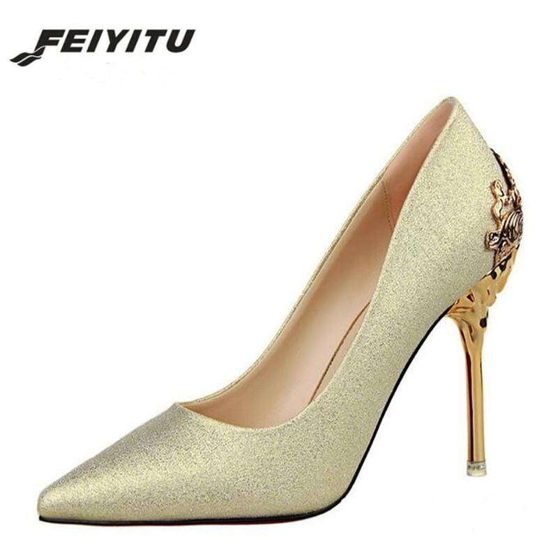 75fd12add178 Wholesale 2018 Woman Pumps Sexy High Heels Shoes High Heels Shoes Woman  Ladies Wedding Party Shoes Red Gold Silver Women Shoes Boots For Men From  Shoes5555
