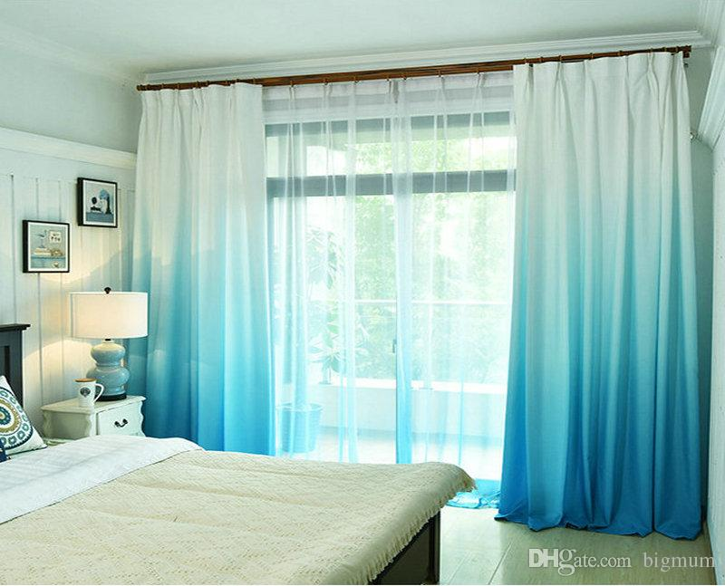 Cor sólida Rainbow Summer Cortina para Sala de estar Quarto Janela Modern Sheer Voile Panels 5 Cores Impresso 100 Poliéster Drape