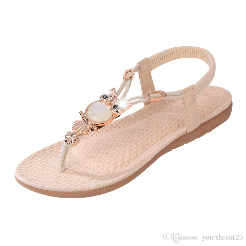 5f4292a1d 2018 New Womens Flat Sandal Open Toe T Strap Thong Flip Flops Shoe Summer  Sandals Comfortable Non Slip Sandals Ladies Footwear Fashion Shoes From ...