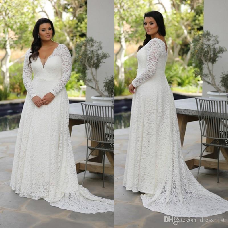 38d876bf539 Discount Super Plus Size Long Sleeve Lace Wedding Dresses Vintage V Neck A Line  Court Train Ivory Country Style Bridal Gowns With Bow Sash Modest Wedding  ...