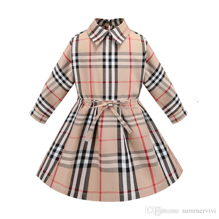 699c62957 2019 Classic Kids Plaid Dress Girls Lapel Long Sleeve Princess Dress ...