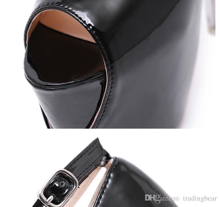18 cm brillant cristal talon plateforme en cuir PU verni noir ultra ultra talons peep toe pompes femmes chaussures de designer taille 35 à 40
