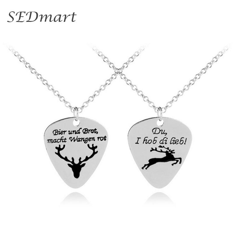 SEDmart Heart Shaped Elk Necklace for Woman Man Silver Alloy Chain Guitar Piece Couple Choker Birthday Party Gift Hot