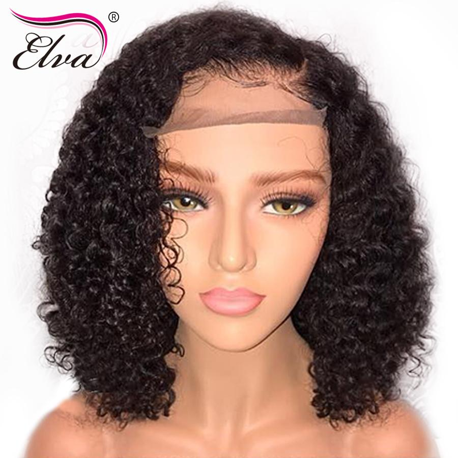Elva Hair Short 13x6 Lace Front Human Hair Wigs 150% Density Glueless Curly Lace Wig With Baby Hair Pre-plucked Natural Hairline Hair Extensions & Wigs