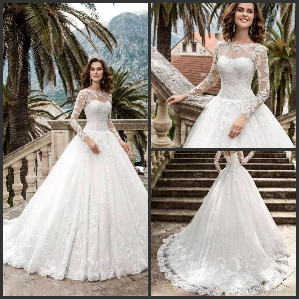 2019 New Modest Long Sleeve Lace Ball Gown Wedding Dresses