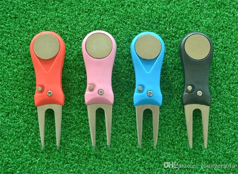Attrezzo del divot di golf di plastica del metallo mini Accessori di sport regolabili portatili Pratica riparazione di allungamento forcella verde molti colori 6jj ZZ