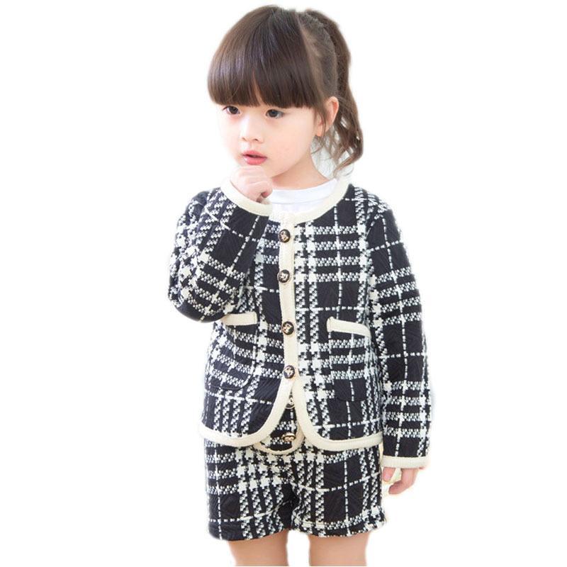 3d61c2ae8 Compre Crianças Roupas De Inverno 2018 Novo Outono Conjuntos De Menina De  Bebê De Manga Comprida Único Meninas Crianças Clothing Top Xadrez Blazer +  Calças ...