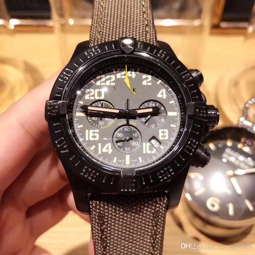 13bfdbf27b7 Compre Novo Relógio De Luxo Preto De Couro Moda Mecânica Dos Homens De Aço  Inoxidável Relógio De Quartzo Movimento Relógio Esporte Mens Relógios De  Pulso De ...