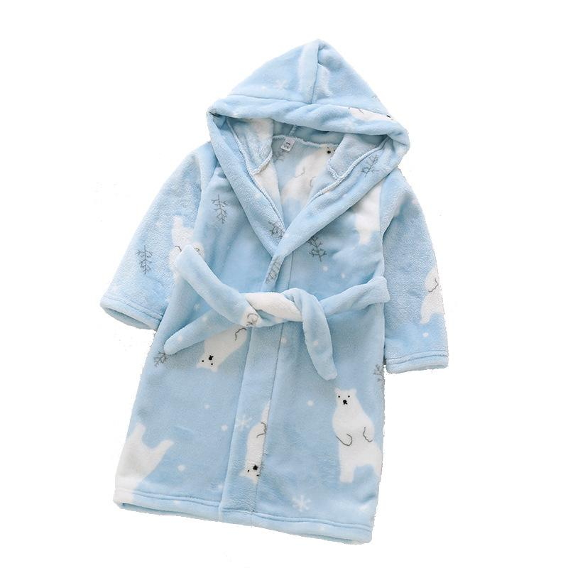 a47c25b90226 Boys girls pajamas soft flannel hooded nightgown autumn winter cute bear  children homewear clothes nightwear kids bathrobes free shipping