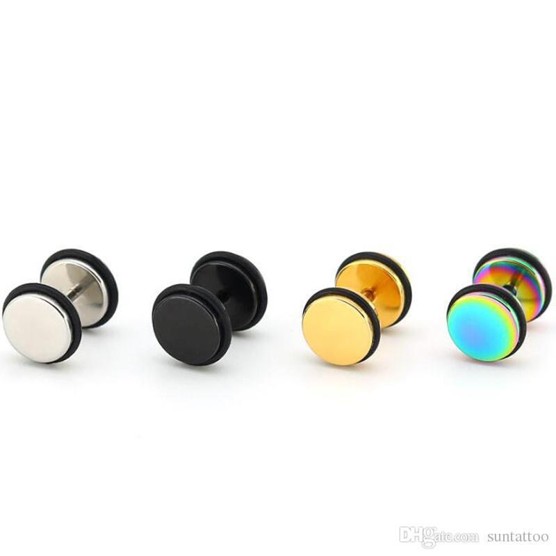 8mm Stainless Steel Round Barbell Stud Earring Punk Screw Earrings With Fake Ear Plug Piercing Jewelry